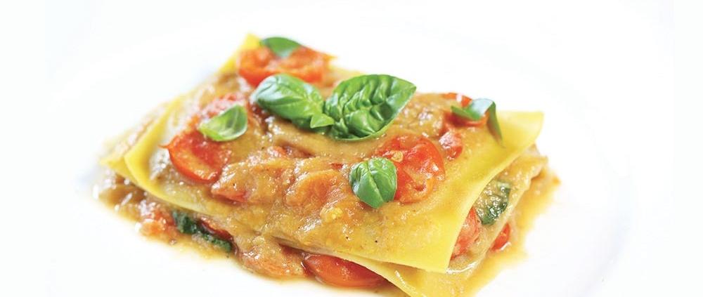 Glutenfreie Rezepte: Linsen-Lasagne mit Auberginen-Tomaten-Soße